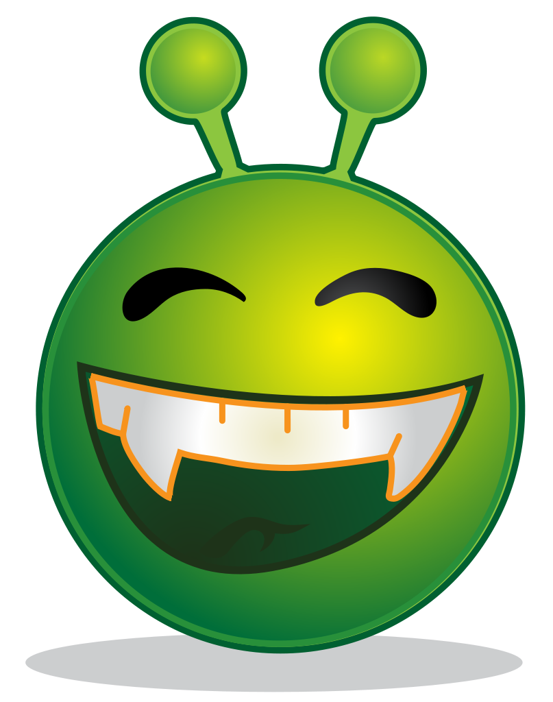 File smiley green alien. Wow clipart surprised expression