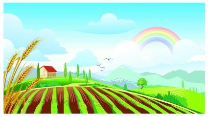 Farm clipart farm field. Clipartfest rainbow mural ideas