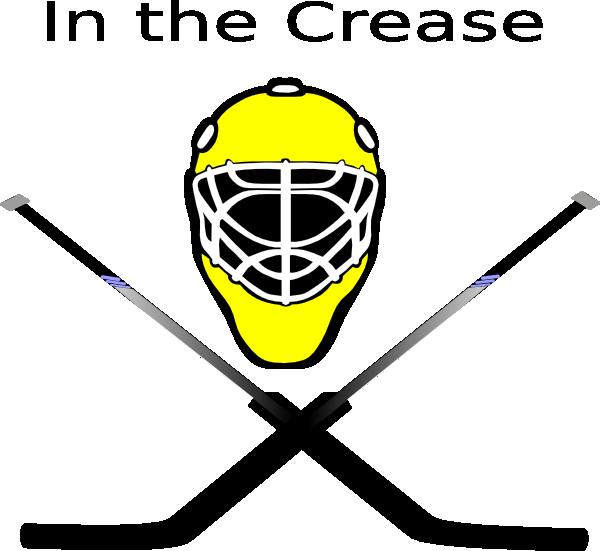 Goalie mask crossed sticks. Hockey clipart goaltender