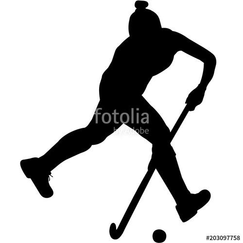 Hockey clipart feild hockey. Woman field player silhouette