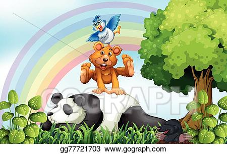 Jungle clipart field. Eps vector animals and