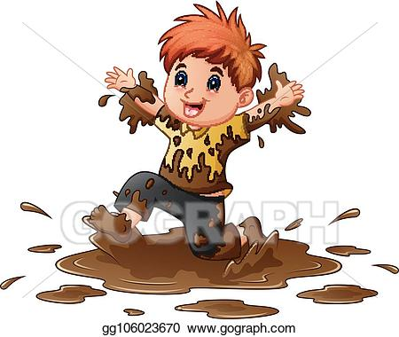 Art little boy playing. Mud clipart vector