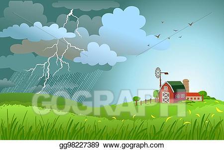 Vector art rain is. Field clipart small farm