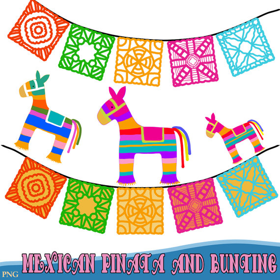 Mexican pinatas and bunting. Fiesta clipart