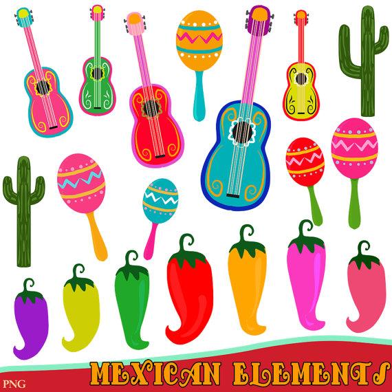 Mexican guitar instant . Fiesta clipart
