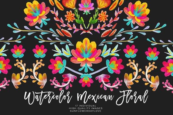 Watercolor floral invitation serape. Fiesta clipart blanket mexican