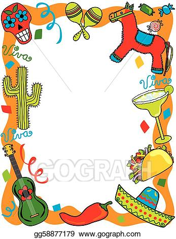 Mexican clipart invitation. Vector fiesta party