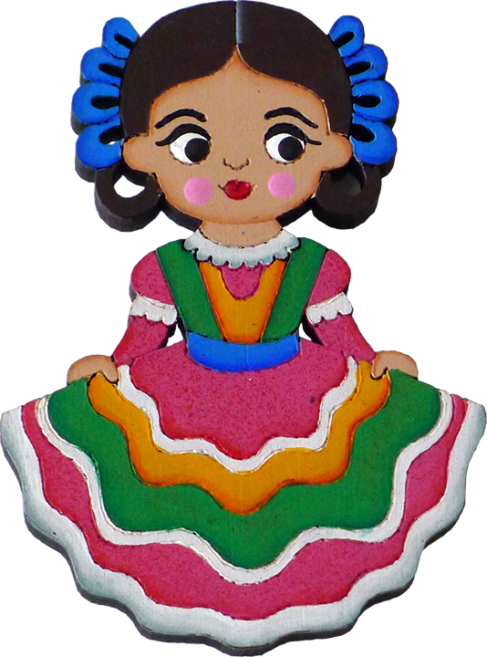 Mexican clipart senorita. Tapatia traditional dress magnet