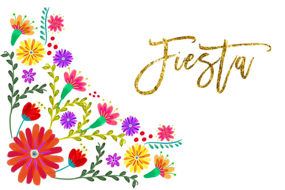Mexican watercolor flowers fiesta. Floral clipart font