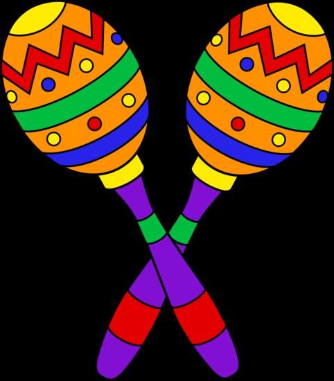 Colorful design clip art. Maracas clipart fiesta theme