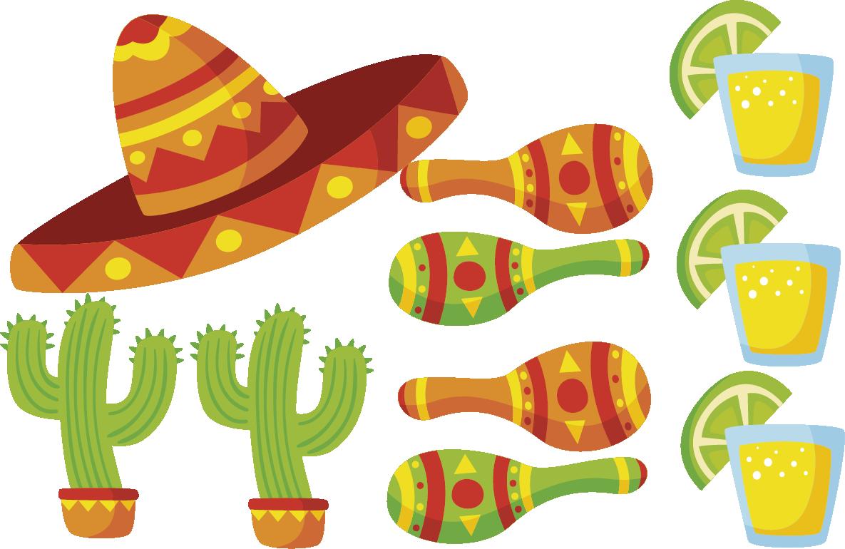 Maracas clipart cinco de mayo. Letreros para fiestas sombrero