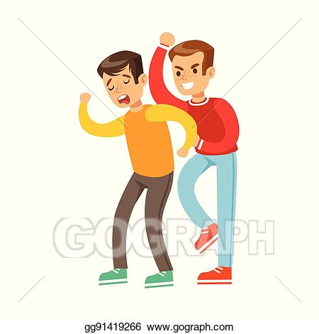 Vector two boys fist. Fight clipart aggression