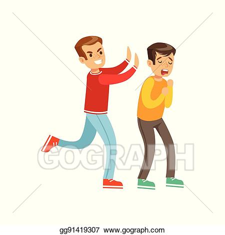 Vector illustration two boys. Fight clipart aggression