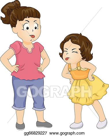 Fighting clipart feud. Eps illustration sibling vector