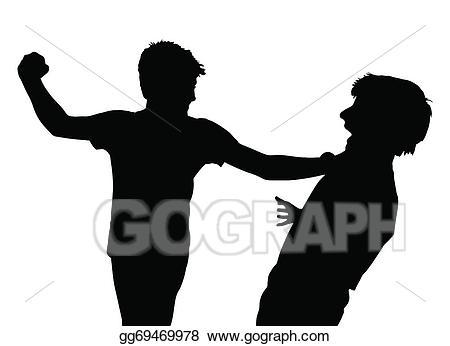 Fight clipart fist fight. Eps illustration teen boys