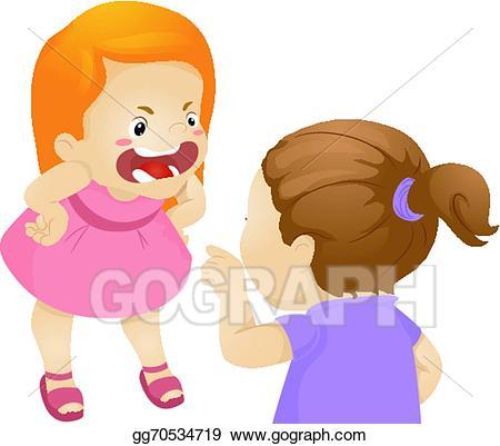 Vector illustration girl fight. Fighting clipart quarrel