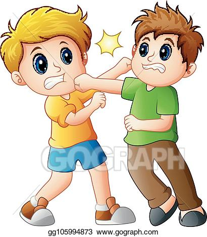 Eps illustration two boys. Fight clipart student fight