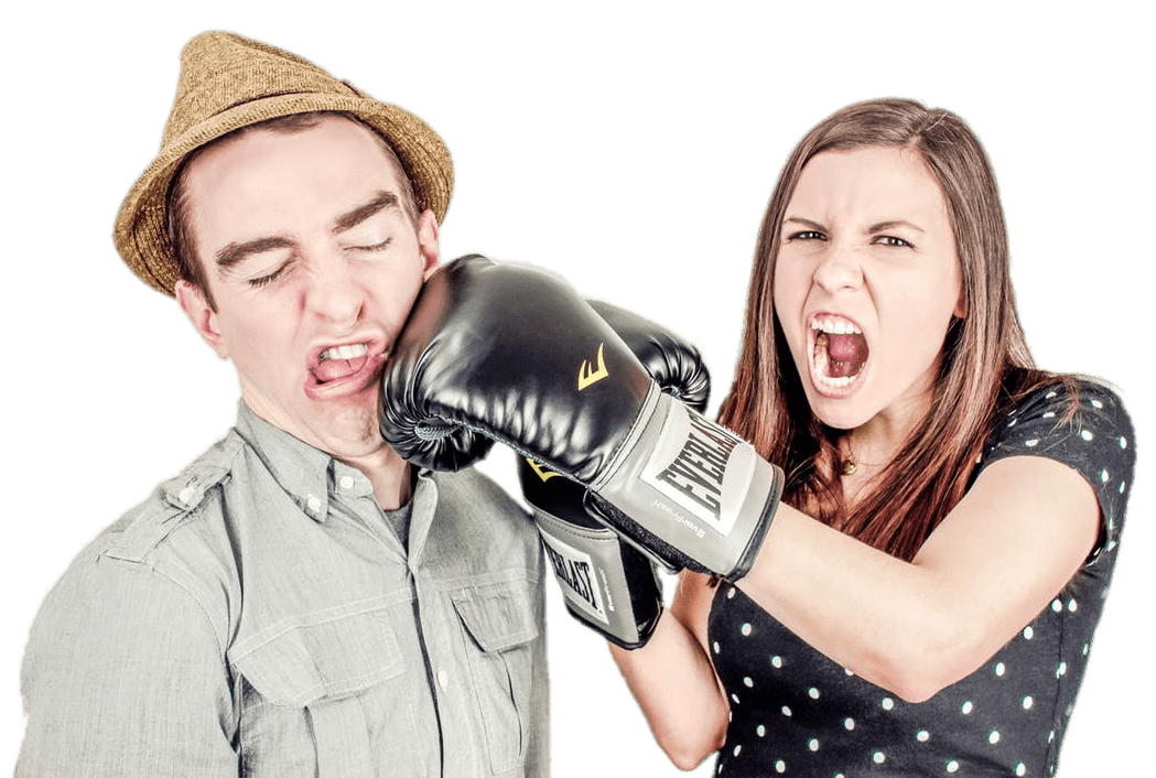 Fighting clipart woman boxing. Couple punching man transparent