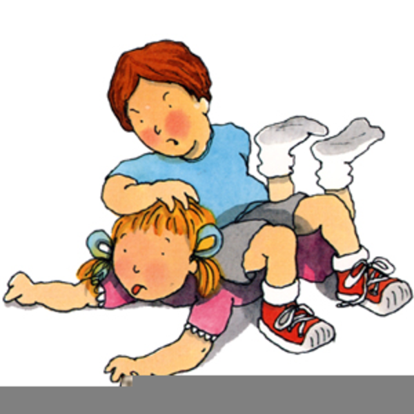 Fighting clipart. Brother and sister free