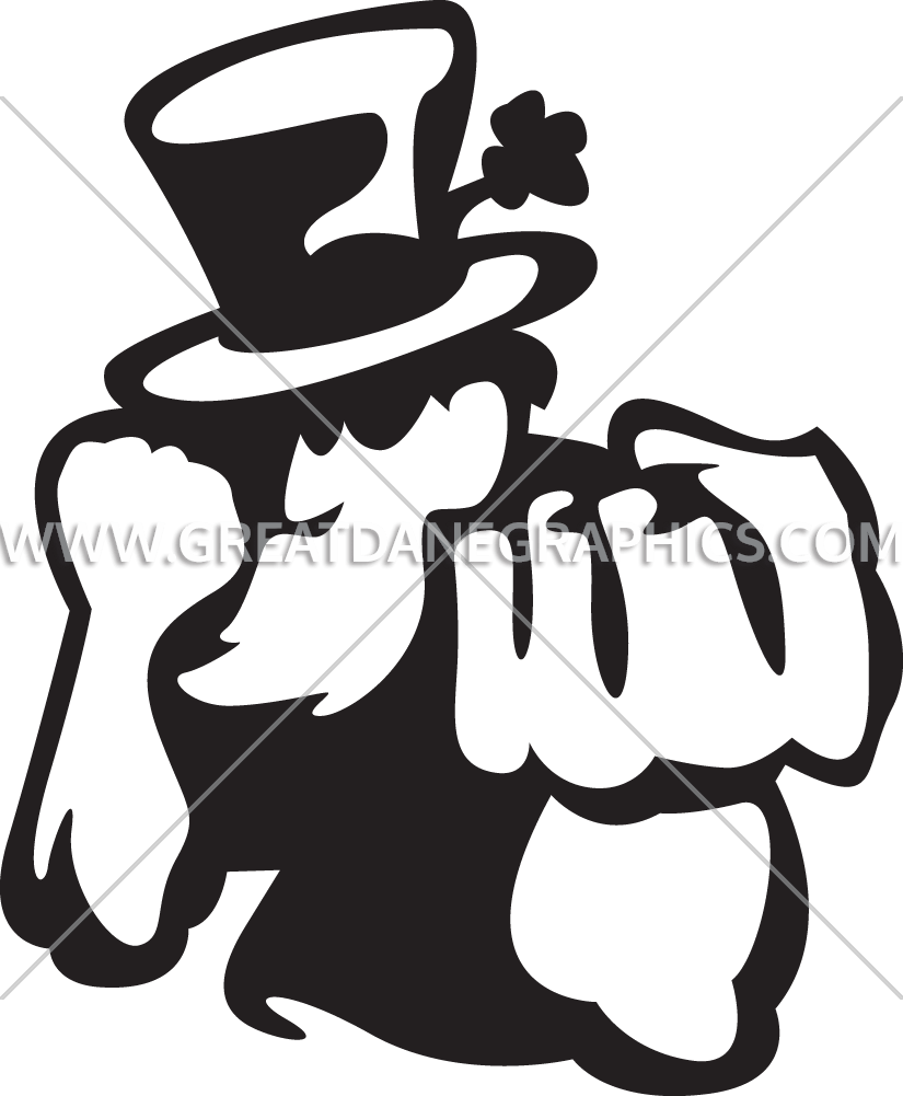 Irish man production ready. Fighting clipart black and white