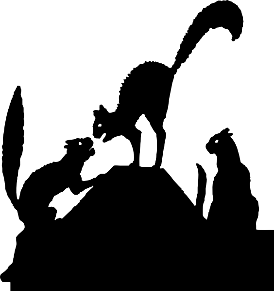 Fighting clipart black and white. Cat fight silhouette clip