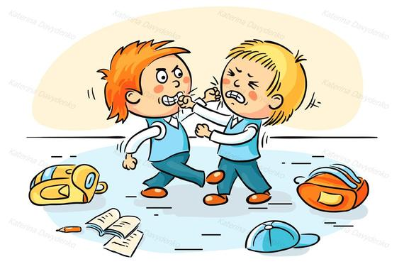 Two schoolboys are education. Fighting clipart boys
