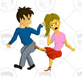 Of boy and girl. Fighting clipart happy