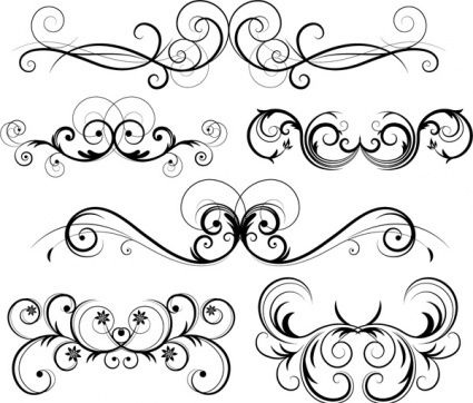 Swirls vector image free. Filigree clipart bottom border