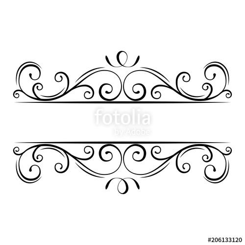 Calligraphic flourish frame ornate. Filigree clipart decorative scroll