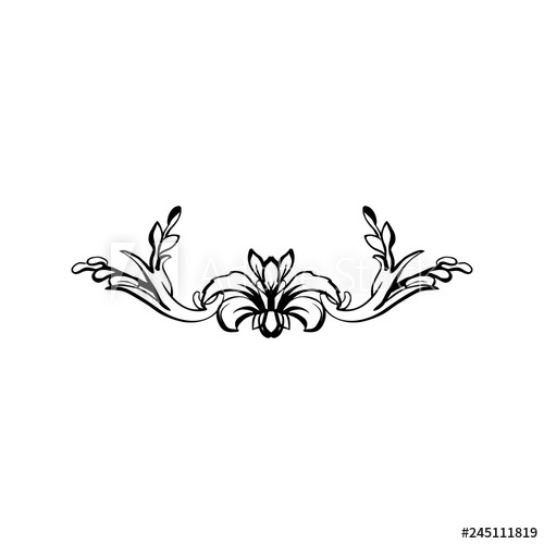 Filigree clipart decorative scroll. Flourish vector text divider