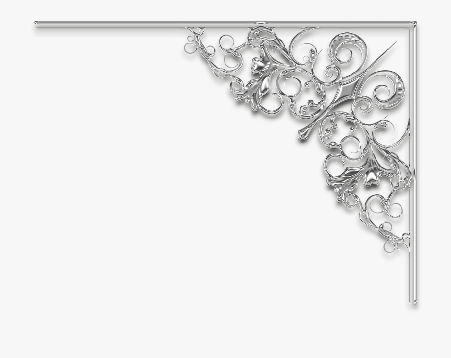 Filigree clipart divider. Wedding corner frame silver