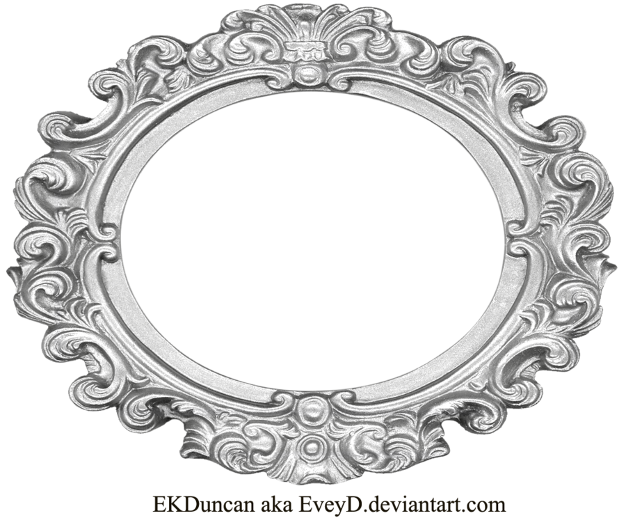 Ornate wide oval by. Silver frame png