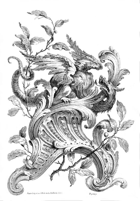 Filigree clipart french scroll. Vintage ink plate with