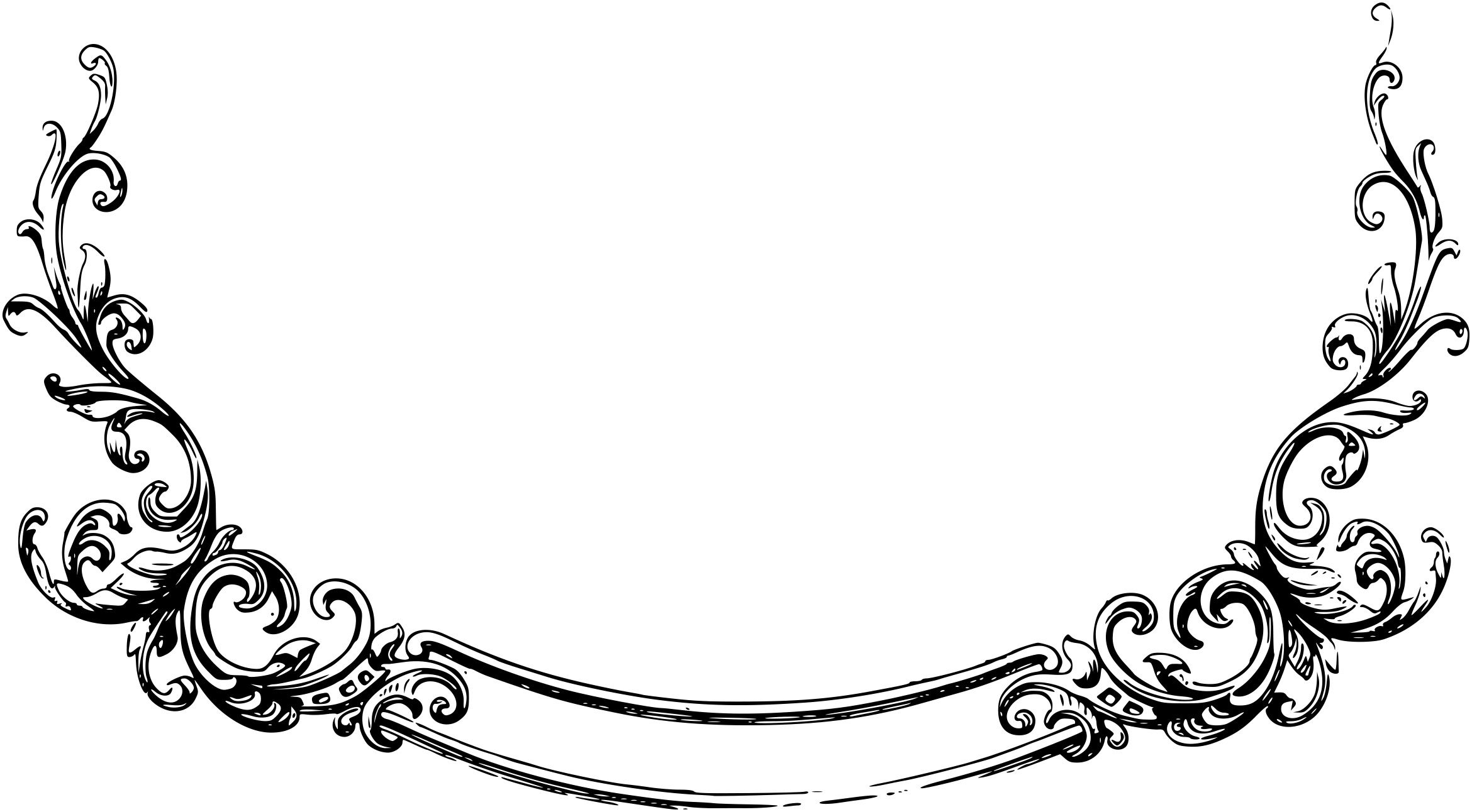 Clip art banners border. Filigree clipart french scroll