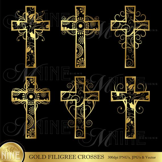 Filigree clipart vector. Gold crosses cross clip
