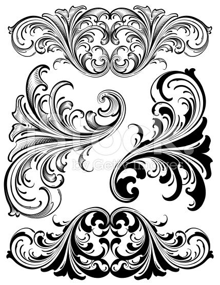 Designed by a hand. Filigree clipart victorian
