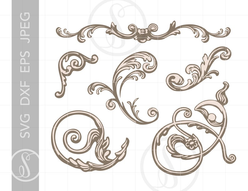 Design ornaments svg clip. Filigree clipart victorian