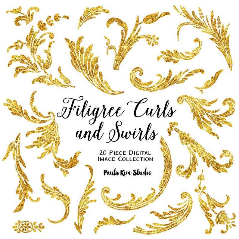 Filigree clipart wedding. Feather flourishes gold glitter