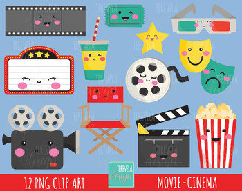 Movie clipart kawaii.  sale cinema graphics