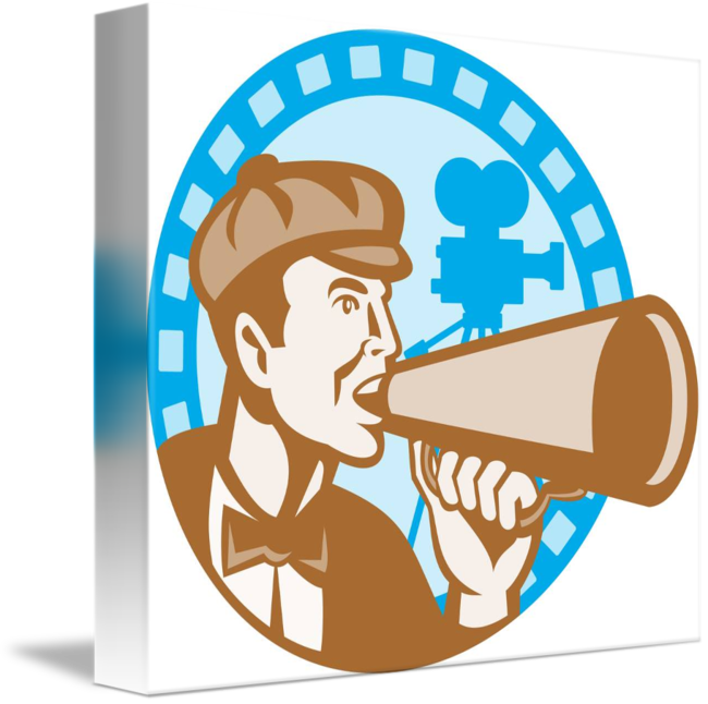 Movie with bullhorn and. Film clipart director camera
