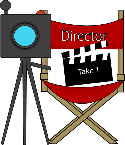 Movie directors chair and. Film clipart director camera