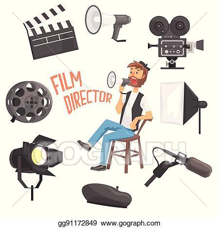 Vector illustration director sitting. Film clipart film shooting