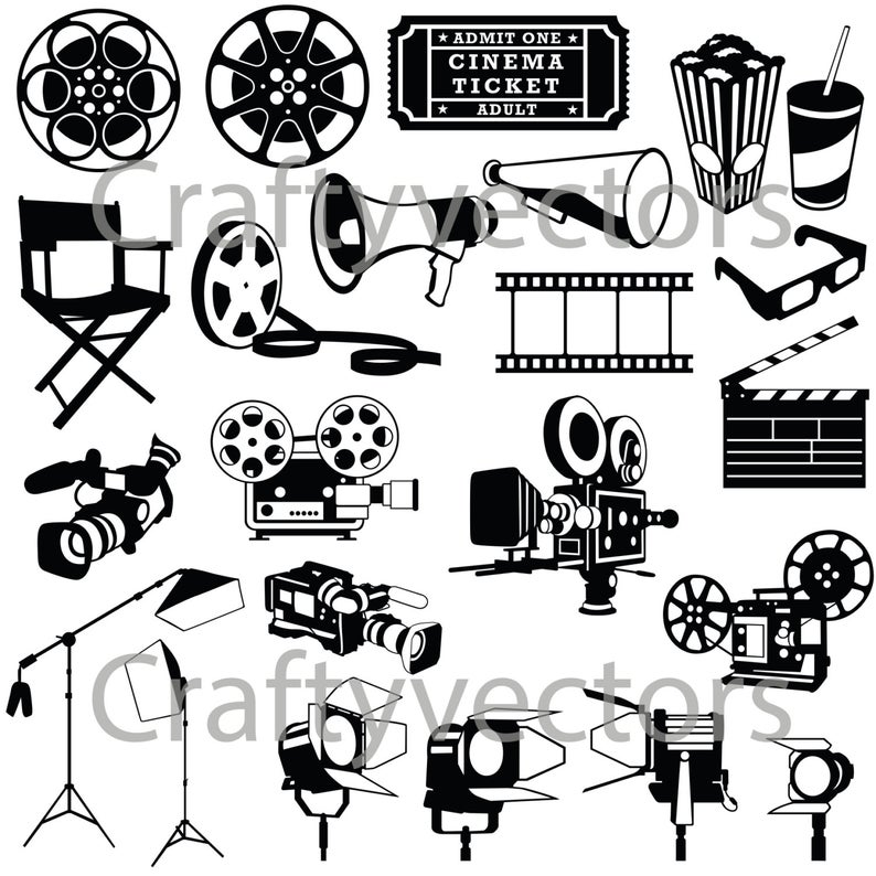 And props vector file. Film clipart movie prop