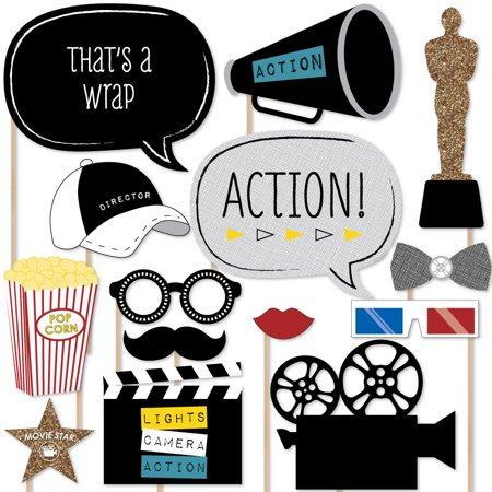 Film clipart movie prop. Hollywood party photo booth