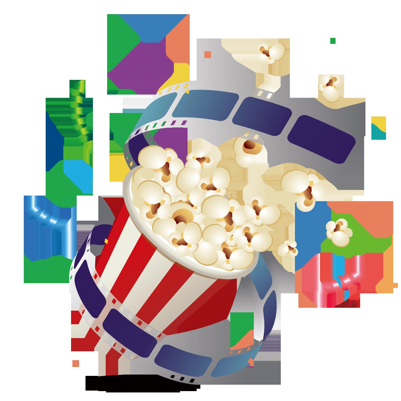 Popcorn photographic film cartoon. Movie clipart movie snack