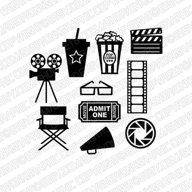 cinema camcorder clapperboard. Film clipart movie theme