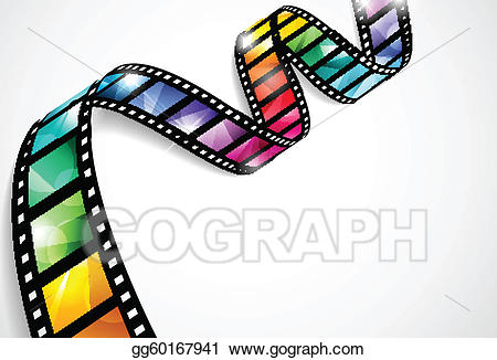 Film clipart vector. Colorful strips illustration