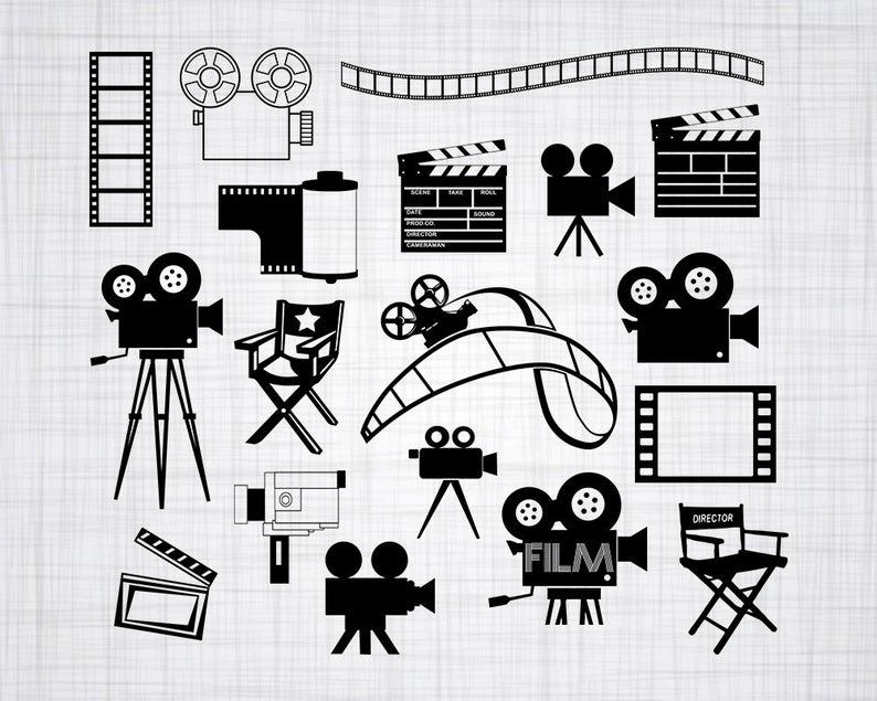 Svg bundle cut files. Film clipart vector