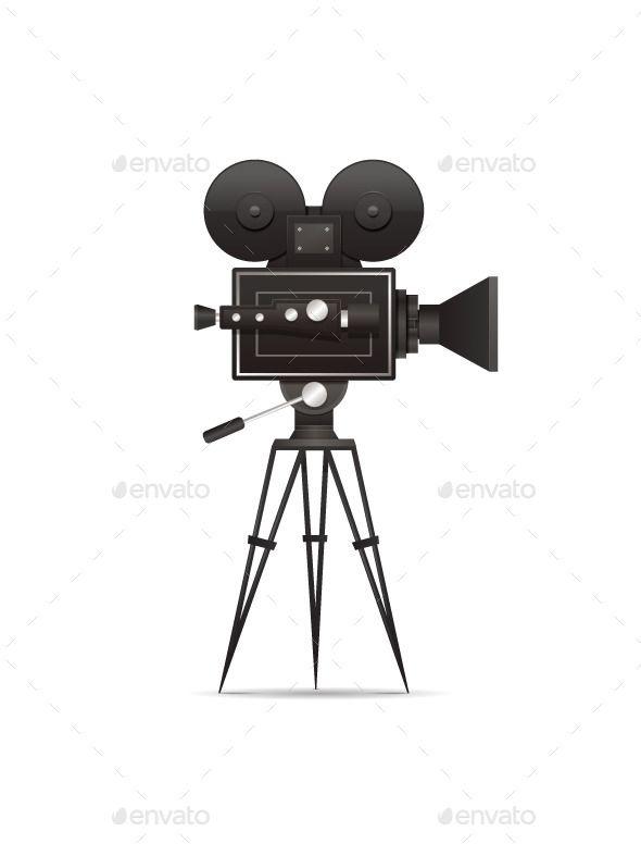 Film clipart vintage film camera. Movie vector illustration eps