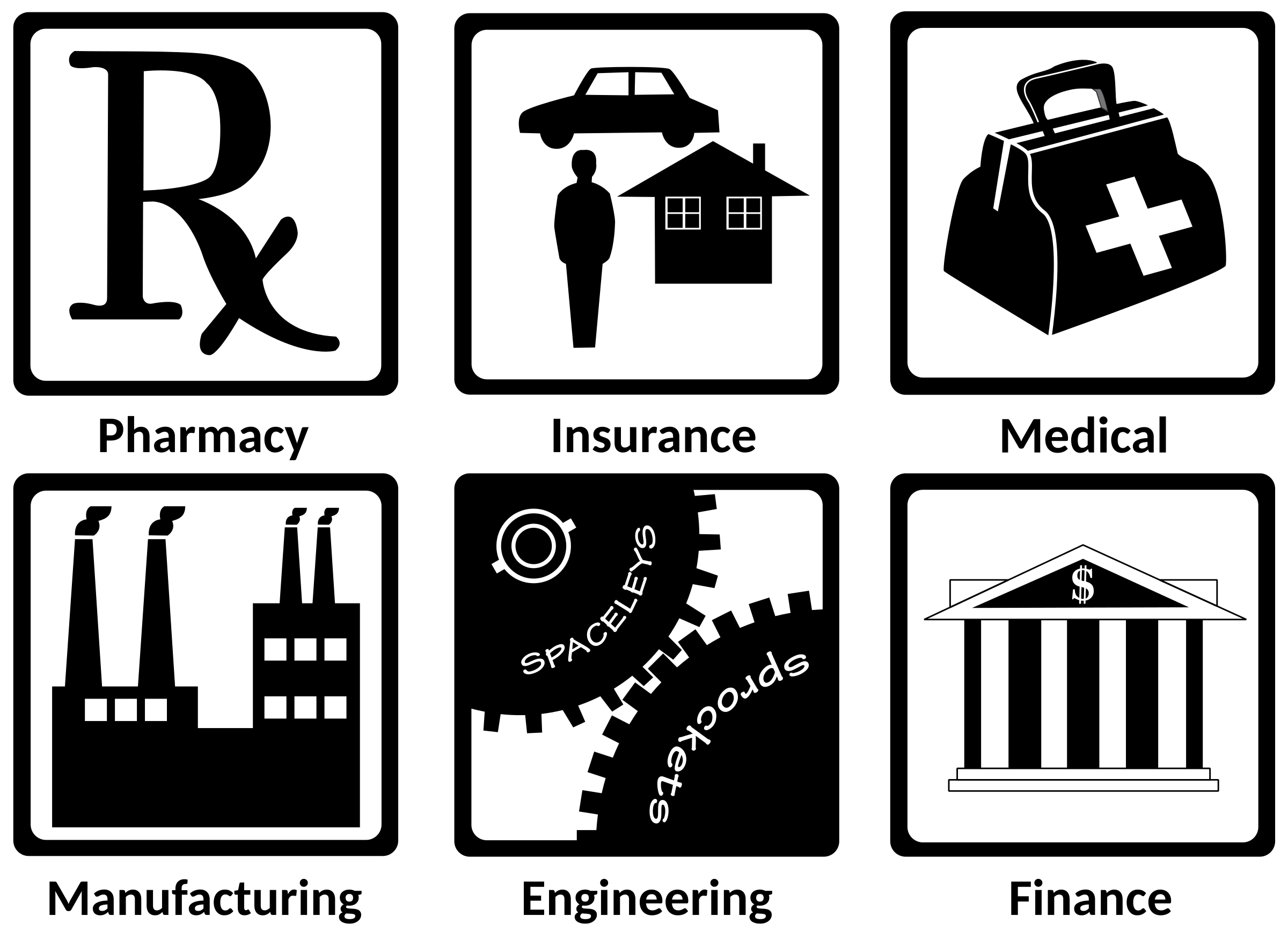 Industry icons i big. Finance clipart black and white